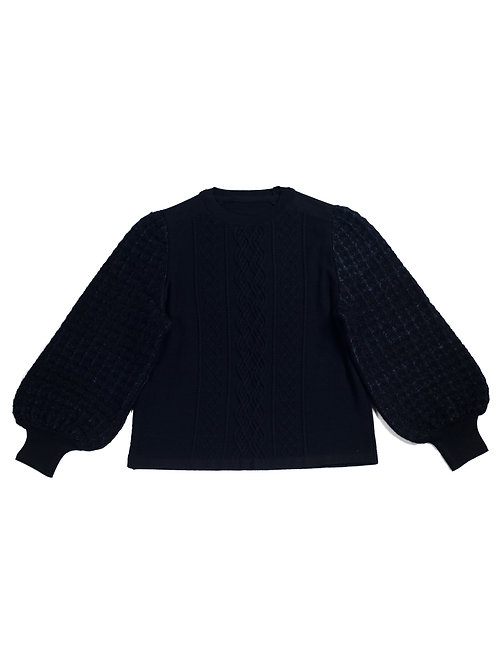 Inlay Puff Sleeve Knitted Top -  Black
