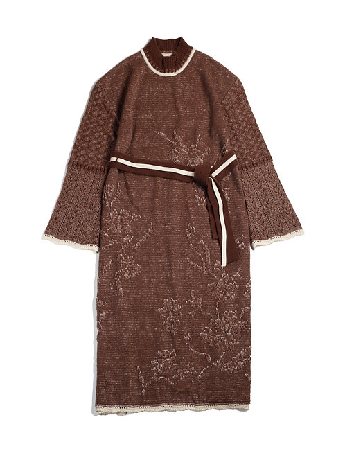 Botanical Jacquard Knitted Dress - Brown