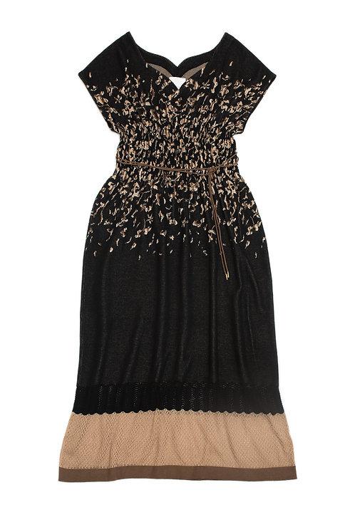 Petals Jacquard Knitted Dress - Black