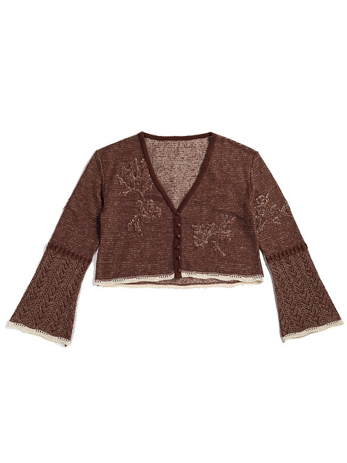 Botanical Jacquard Knitted Cardigan - Brown