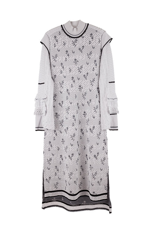 Frill Sleeve Knitted Dress - Gray