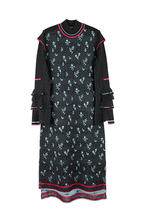 Frill Sleeve Knitted Dress -Black