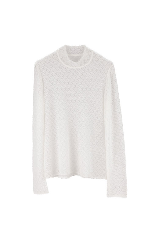Leaves Lace Long sleeve Knitted Top - White