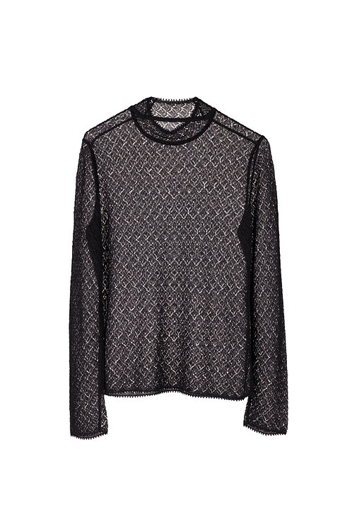 Leaves Lace Long sleeve Knitted Top -Black