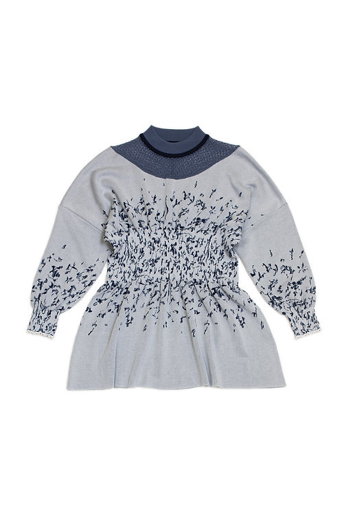Petals Jacquard Knitted Top - Blue