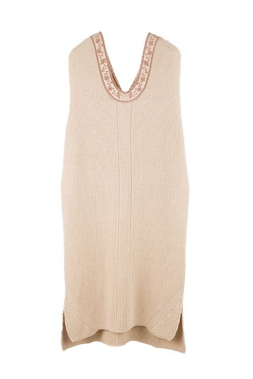 Ribbon Jacquard Knitted Vest - Beige