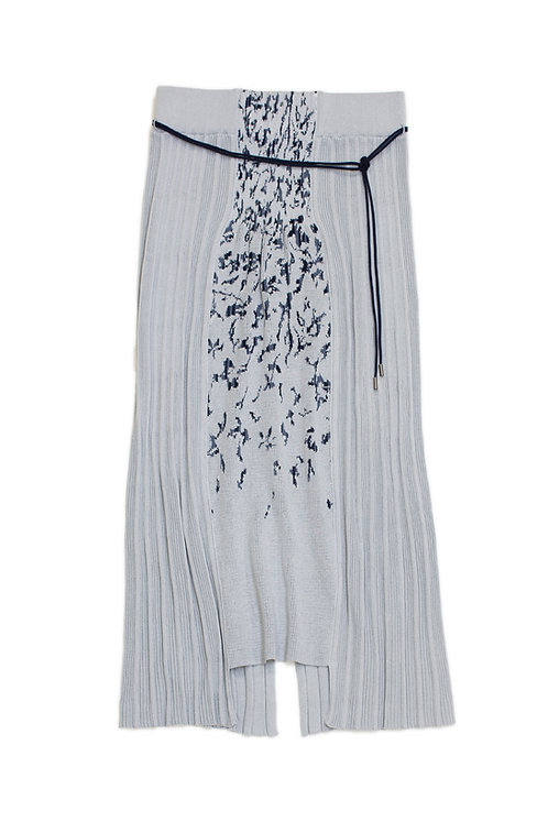 Petals Jacquard Knitted Skirt - Blue