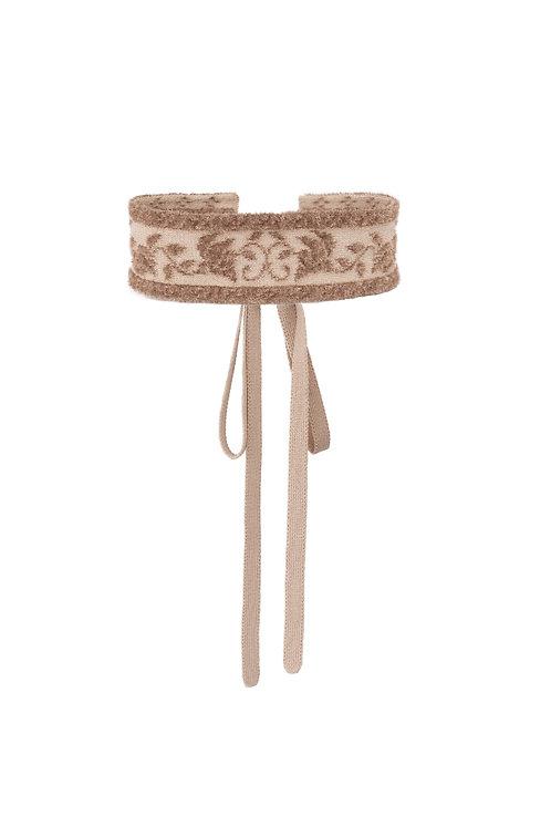 Ribbon Jacquard Knitted Choker - Beige