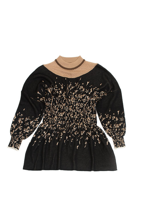 Petals Jacquard Knitted Top - Black