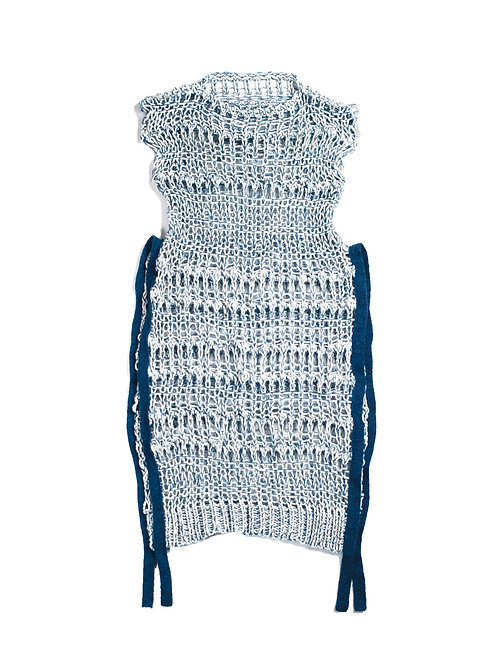 Low Gauge Knitted Dress  - Blue