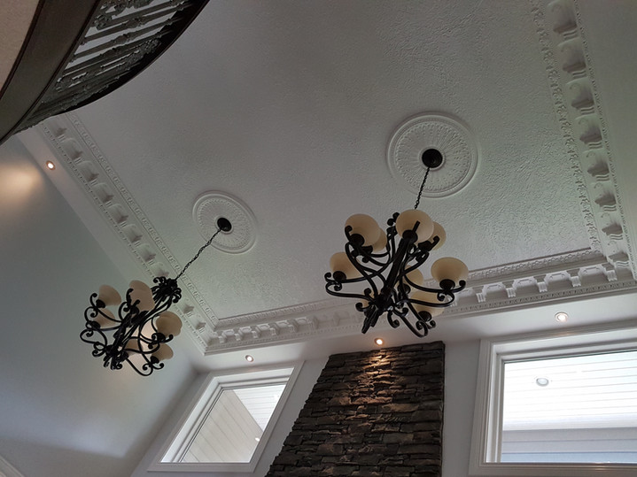 High ceiling house with chandelier