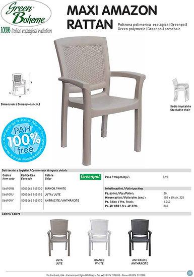 Cadeira C/ Braços MAXI AMAZON RATTAN Grandsolei-Greenpool»--»