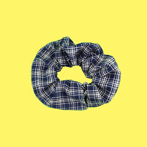 Navy Plaid Scrunchie