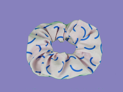 Pink and Blue Squiggles Scrunchie