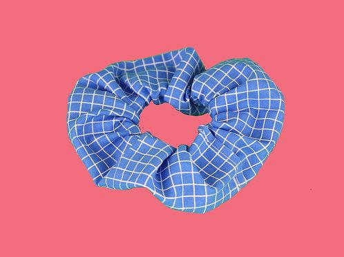 Blue Grid Scrunchie