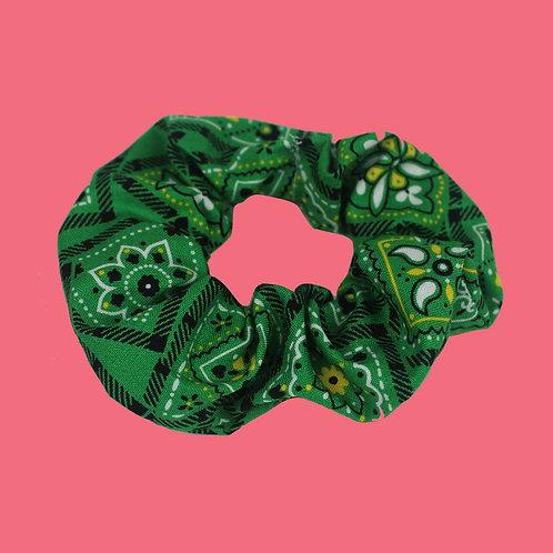 Green Bandana Scrunchie