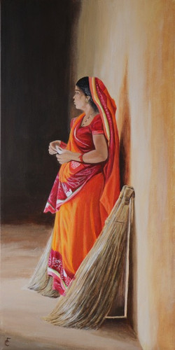 Woman with brooms