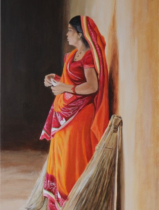 Indian Woman with brooms
