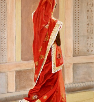 Indian Woman in red and gold Sari