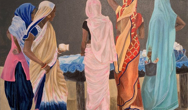Indian Women at the market Acrylic on canvas
