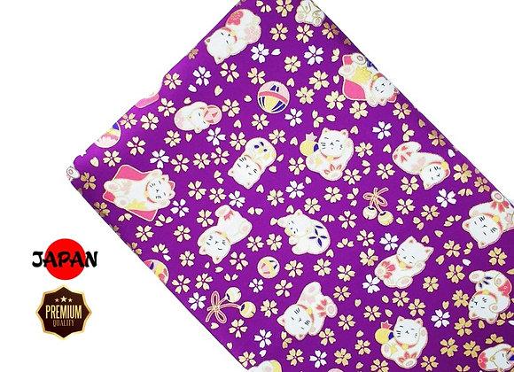 Fortune Cat w Temari Purple (CT)