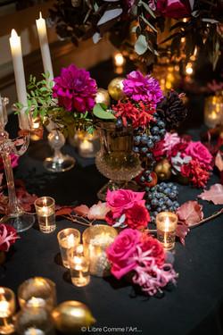 fruits, decoration florale, flowers, soirée