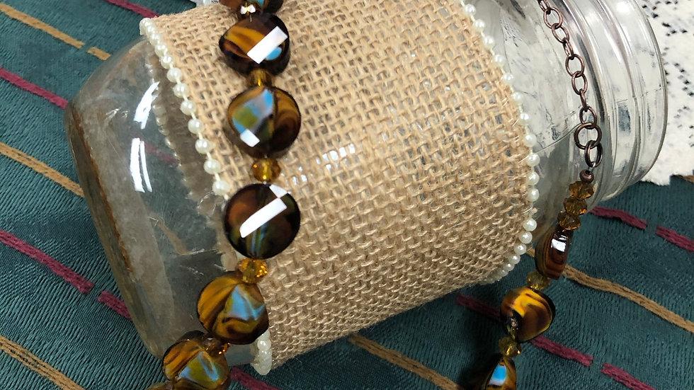 Bronze & Tan necklace/earring set