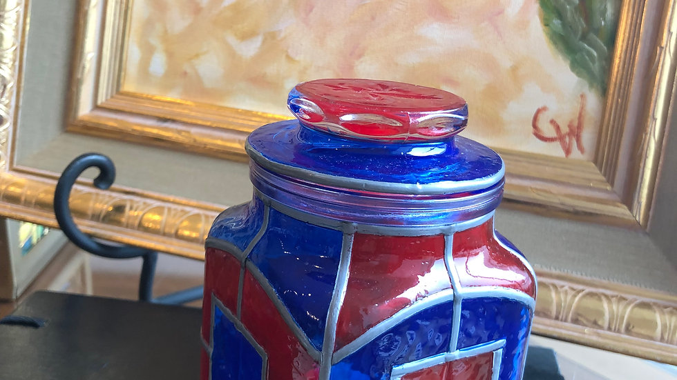 Faux Stained Glass Apothecary Jar
