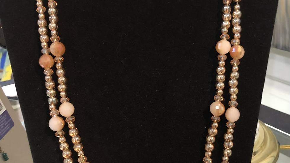 Amber, white, and Gold Necklace/Earring Set