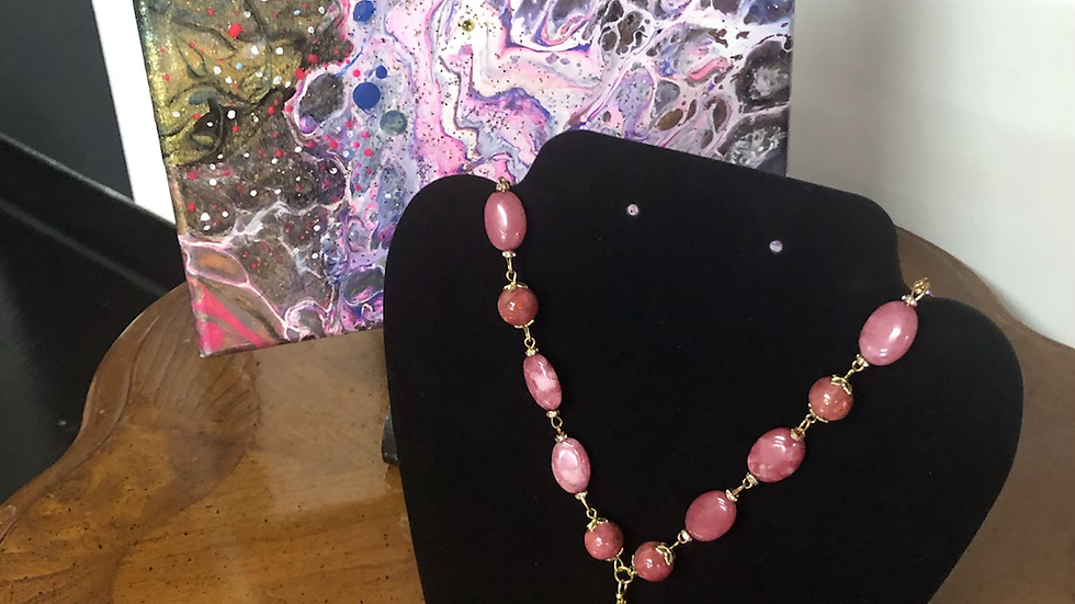 """""""Rose Pink and Gold Necklace"""""""
