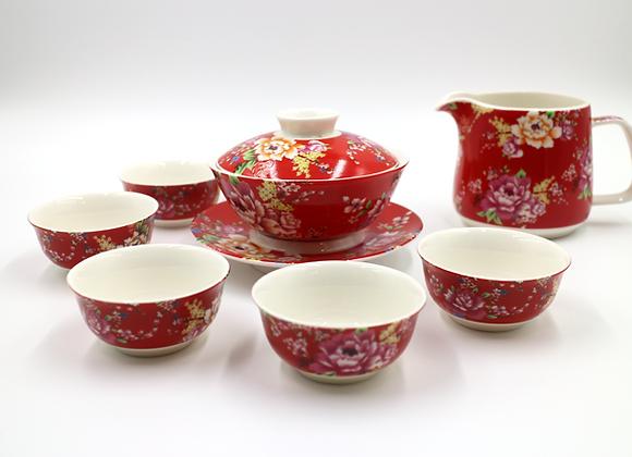 Hakka Flower Printed  Gaiwan Tea Set 客家花布蓋杯組