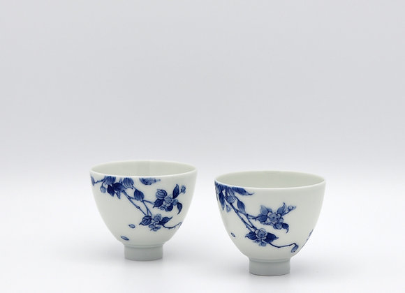 Pair of Blue and White Porcelain Cups- Flower branches pattern