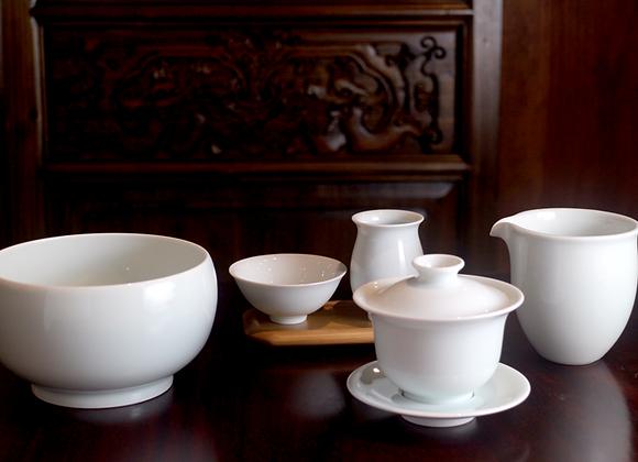 White Gaiwan Tea Set   白色蓋杯茶具組