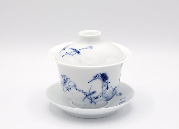 Blue and White Porcelain Gaiwan- Lotus/Bird