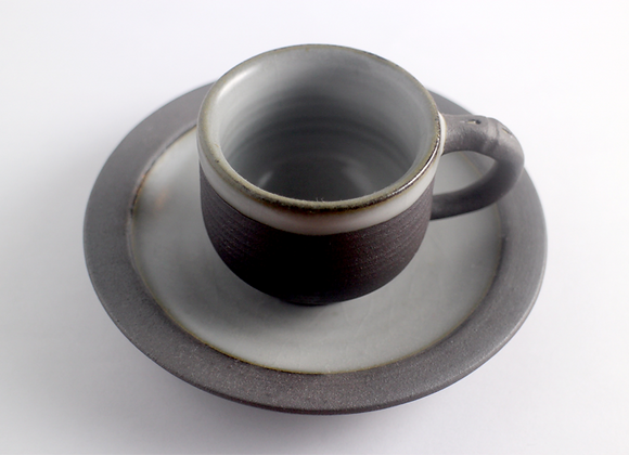 Energy Clay Coffee Cup with Saucer   能量咖啡杯組