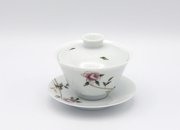 Hand Painted Porcelain Gaiwan-  Rose/Leaves pattern