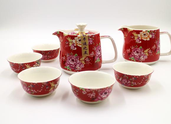 Hakka Flower Printed Tea Set  客家花布茶具組