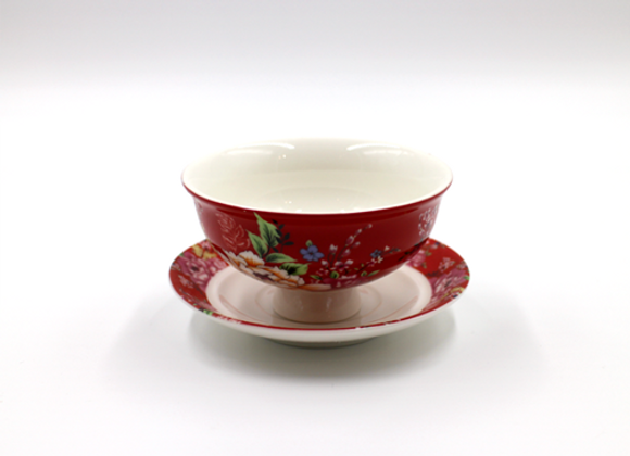 Hakka Flower Teacup 紅客家花布杯