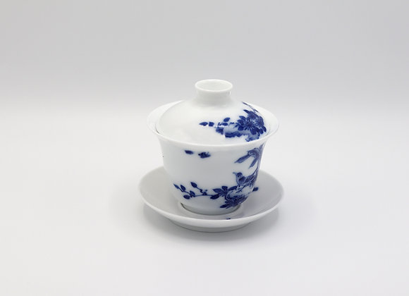 Blue and White Porcelain Gaiwan- Singing bird/Butterfly/Fragrant flower