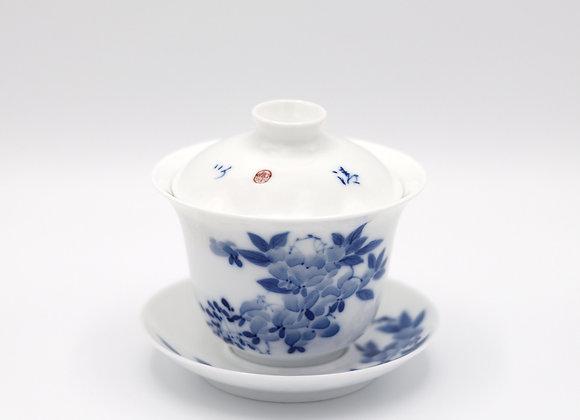 Blue and White Porcelain Gaiwan- Flowering branch/Love birds