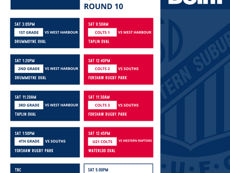 Round 10 v Wests Pirates June 17th