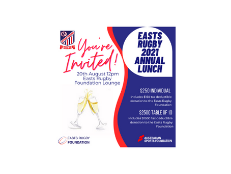 Easts Rugby 2021 Annual Lunch
