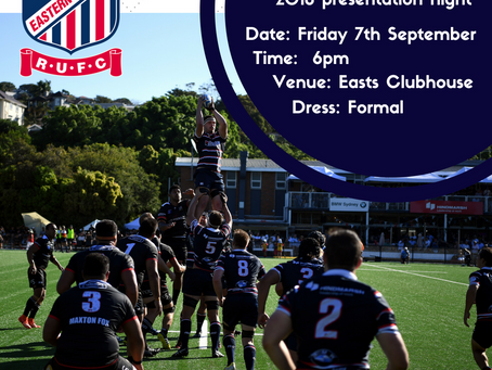 2018 Easts Presentation Night