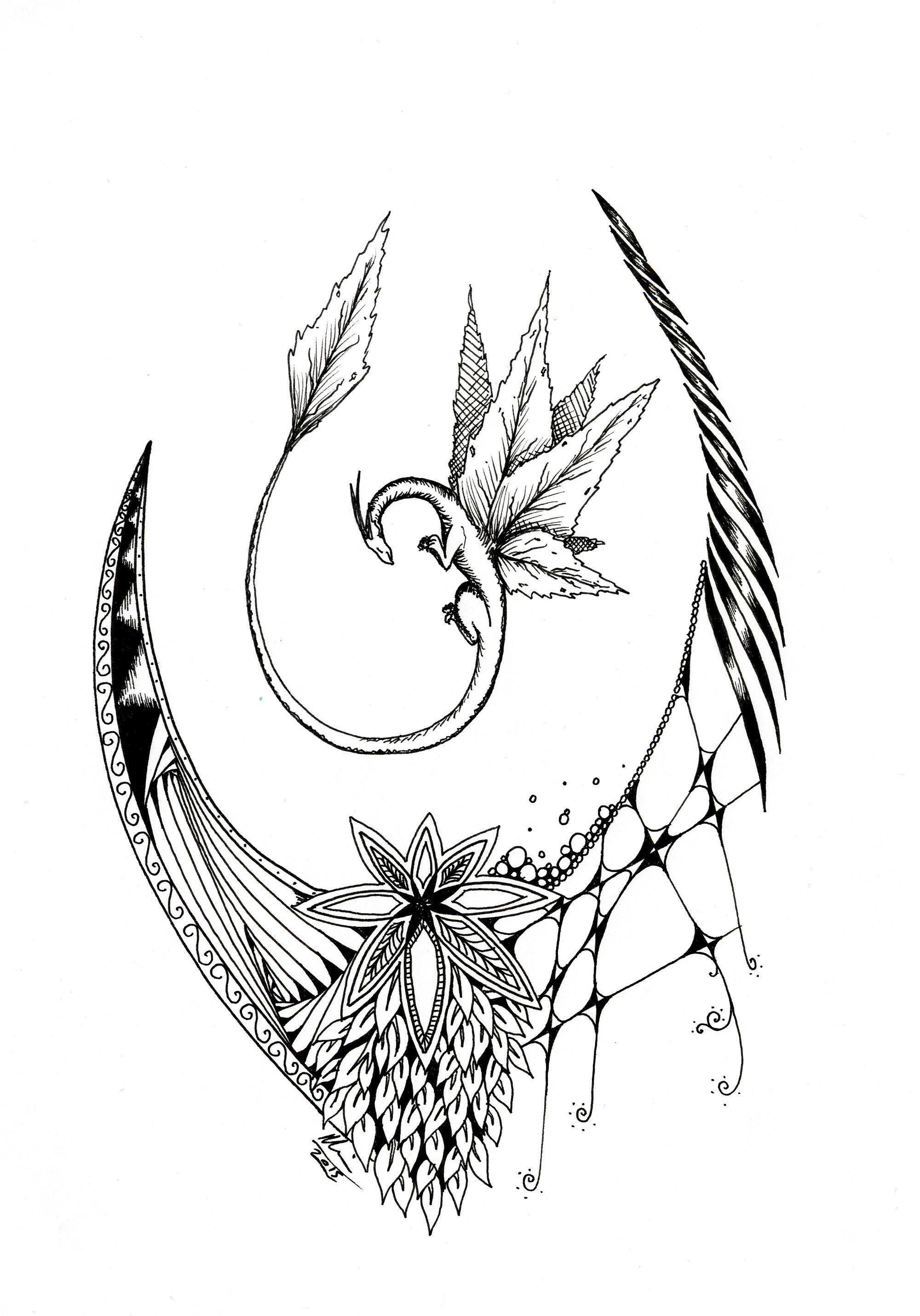 BW inktober dragon