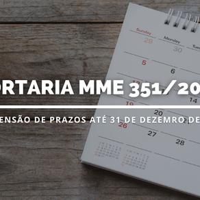 MME publica suspensão de prazos processuais até 31 de dezembro