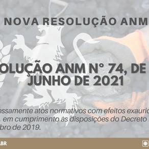 RESOLUÇÃO ANM Nº 74, DE 8 DE JUNHO DE 2021