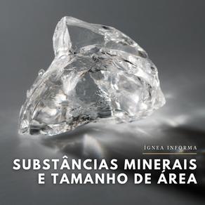 Substâncias minerais e tamanho de área