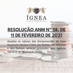ANM publica Resolução n°58/2021 atualizando valores de emolumentos, taxas e multas