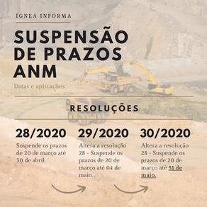 Suspensão de prazos ANM: datas e aplicações