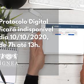 Protocolo Digital ficará indisponível dia 10/10/2020
